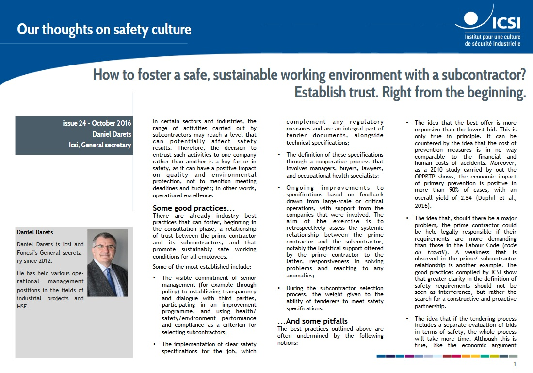 How to foster a safe, sustainable working environment with a subcontractor? Establish trust. Right from the beginning.